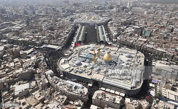 An aerial view of the Imam Hussein Shrine as Shiite pilgrims gather to take part in a mourning procession marking the day of Ashura in the Iraqi city...