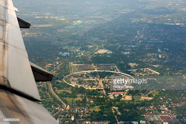 An aerial view of the infamous Insein prison in Yangon from a regular airliner