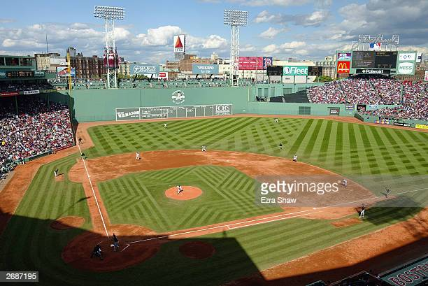 An aerial view of the inside of Fenway Park taken during game four of the American League Division Series between the Oakland Athletics and the...