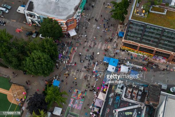 An aerial view of the intersection of East Pine Street and 11th Avenue is seen during ongoing Black Lives Matter events in the socalled CHOP an area...