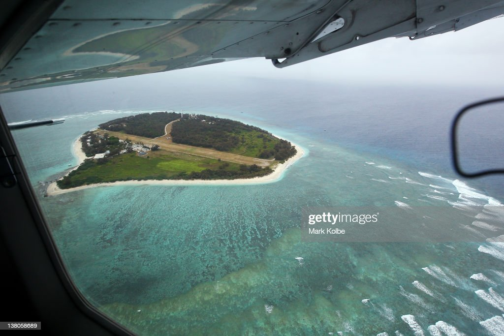 An aerial view of the island is seen from the plane window on January 15, 2012 in Lady Elliot Island, Australia. Lady Elliot Island is one of the three island resorts in the Great Barrier Reef Marine Park (GBRMPA) with the highest designated classification of Marine National Park Zone by GBRMPA. The island of approximately 40 hectares lies 46 nautical miles north-east of the Queensland town of Bundaberg and is the southern-most coral cay of the Great Barrier Reef.