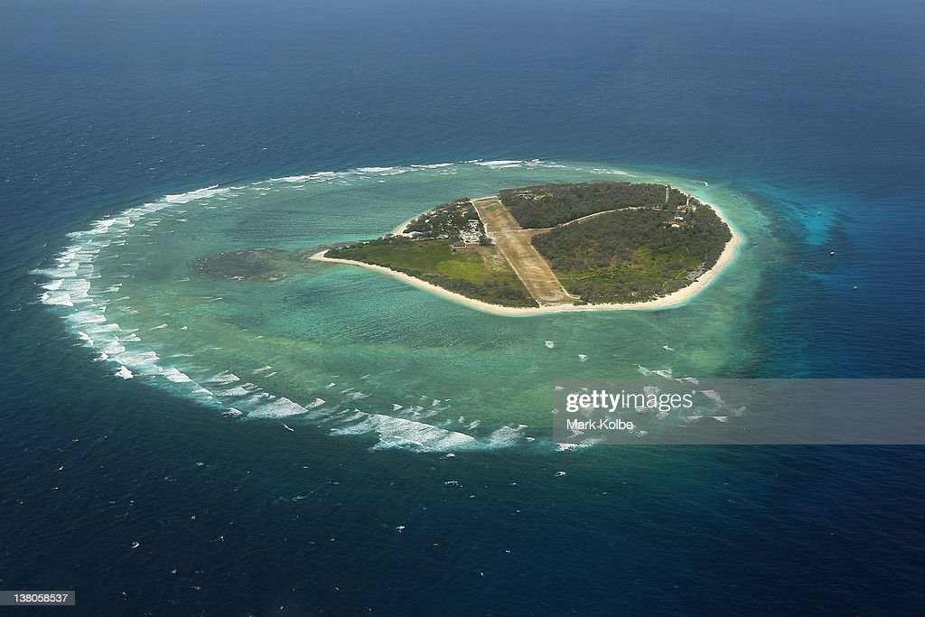 An aerial view of the island is seen on January 14, 2012 over Lady Elliot Island, Australia. Lady Elliot Island is one of the three island resorts in the Great Barrier Reef Marine Park (GBRMPA) with the highest designated classification of Marine National Park Zone by GBRMPA. The island of approximately 40 hectares lies 46 nautical miles north-east of the Queensland town of Bundaberg and is the southern-most coral cay of the Great Barrier Reef.