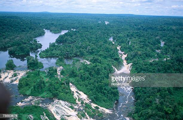an aerial view of the ivindo river - gabon stock pictures, royalty-free photos & images