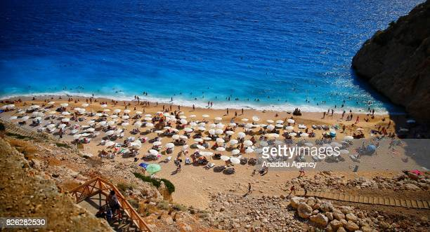 An aerial view of the Kaputas Beach during a hot summer day in Turkey's Antalya on August 04 2017 Kaputas Beach known with its turquoise color...