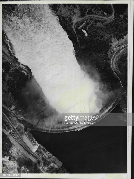 An aerial view of the Kariba Dam- a potential flash point in the Rhodesian crisis - as thousands of tons of water pour through its floodgates some...