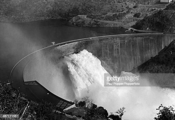 An aerial view of the Kariba Dam in the Kariba Gorge of the Zambezi river basin between Zambia and Rhodesia circa 1965 The dam is seen from Rhodesian...