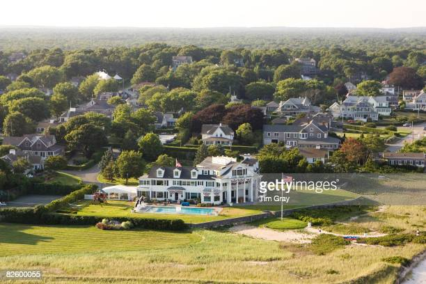 An aerial view of the Kennedy Compound on July 25 2008 in Hyannisport Massachusetts