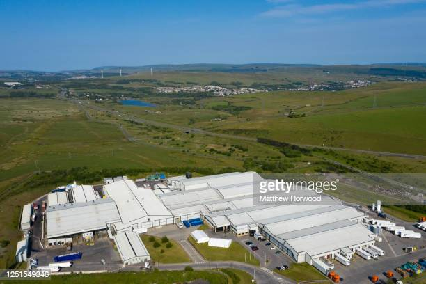 An aerial view of the Kepak meat processing plant where a cluster of coronavirus cases have been reported on June 23, 2020 in Merthyr Tydfil, United...