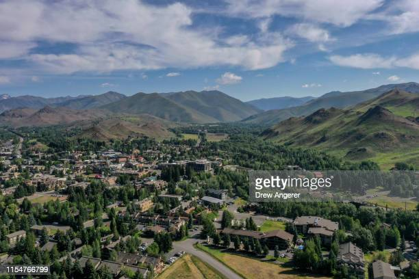 An aerial view of the Ketchum/Sun Valley area ahead of the annual Allen Company Sun Valley Conference July 9 2019 in Sun Valley Idaho Every July some...