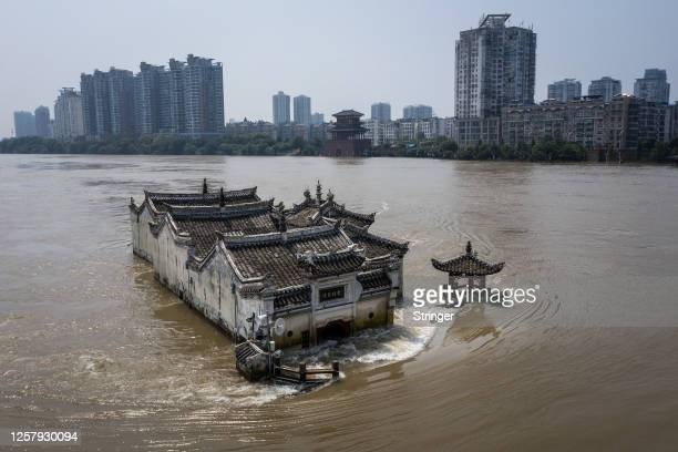 An aerial view of the Kwanyin Temple in the middle of the flooded Yangtze River on July 24, 2020 in Ezhou, Hubei province, China. The temple, on a...