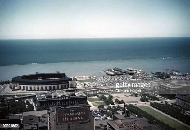 An aerial view of the Lake Erie waterfront including Cleveland Municipal Stadium on June 15 1949 in Cleveland Ohio Cleveland Municipal Stadium is the...