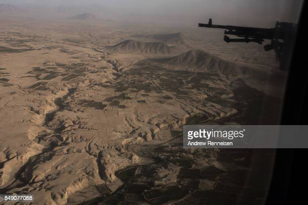 An aerial view of the landscape outside of Bagram Air Field is seen on September 5 2017 in Bagram Afghanistan Currently the United States has about...