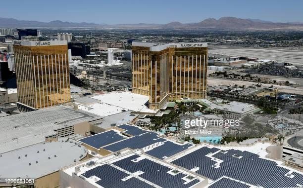An aerial view of the Las Vegas Strip shows Delano Las Vegas at Mandalay Bay Resort and Casino Mandalay Bay Resort and Casino and the Mandalay Bay...