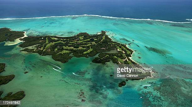 An aerial view of the Le Touessrok Golf Course on the Isle au Cerfs at the Le Touessrok Resort on February 7 2012 in Trou D'eau Douce Mauritius
