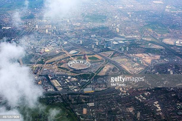 An aerial view of the London 2012 Olympic site, as seen in April of 2014, during its redevelopment as the home to team West Ham United.