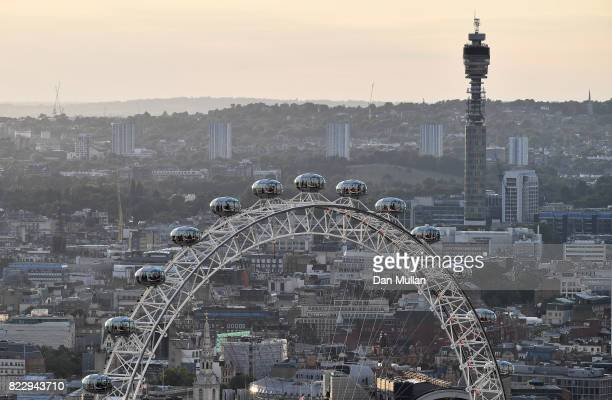 An aerial view of the London Eye and the BT Tower on July 12 2017 in London England