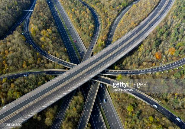 An aerial view of the M25/M23 junction at 11am on November 7, 2020 in England. |England went into a 2nd lockdown on November 5,2020 with restrictions...