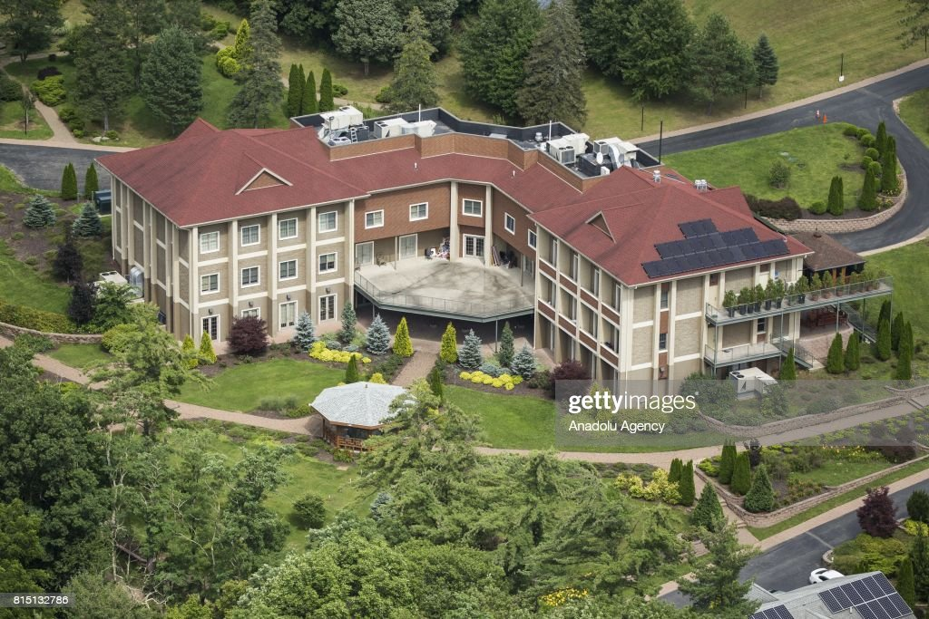 An aerial view of the main building and houses at the Fetullah Terrorist Organization (FETO) compound where Fetulah Gulen resides in Saylorsburg, PA., United States on July 15, 2017. 249 people were martyred and nearly 2,200 people injured in the defeated 15th of July 2016 coup attempt, which the Turkish government said was carried out by the Fetullah Terrorist Organization (FETO) led by U.S.-based Turkish citizen Fetullah Gulen. Turkish officials accuse Fetullah Gulen plotting to overthrow the government of President Erdogan as the culmination of a long running campaign to infiltrate Turkish institutions including the military, the police and the judiciary.