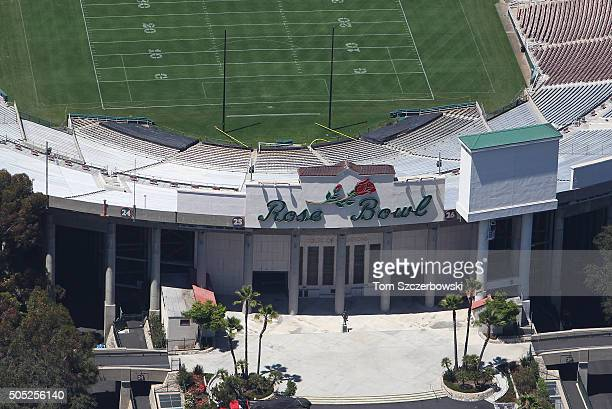 An aerial view of the main entrance to the Rose Bowl the home of the UCLA Bruins and NCAA bowl games on July 13 2010 in Anaheim California