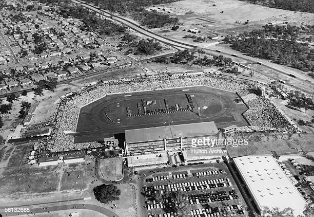 An aerial view of the main stadium on the first day of the British Empire and Commonwealth Games Perth Australia 22nd November 1962 The competing...
