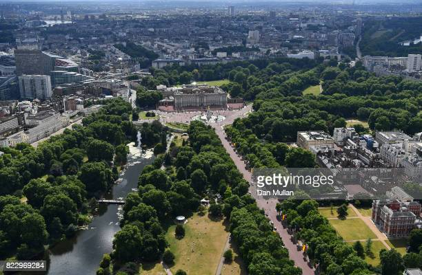 An aerial view of The Mall leading to Buckingham Palace on July 12 2017 in London England