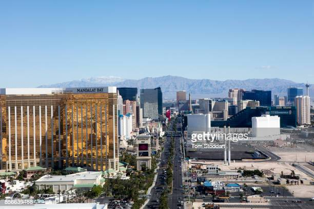 An aerial view of the Mandalay Bay Hotel on the Las Vegas Strip on April 26 2016 In Las Vegas Nevada