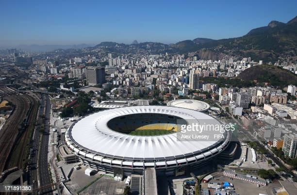 An aerial view of the Maracana Stadium is seen ahead of the FIFA Confederations Cup Brazil 2013 Final on June 29 2013 in Rio de Janeiro Brazil