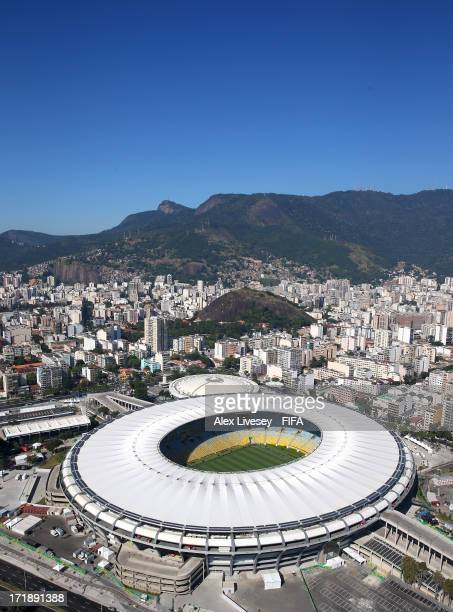 An aerial view of the Maracana Stadium is seen ahead of the FIFA Confederations Cup Brazil 2013 Final on June 29, 2013 in Rio de Janeiro, Brazil.