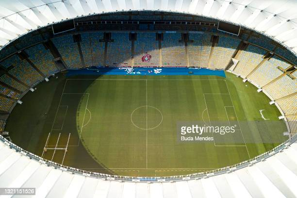 An aerial view of the Maracana Stadium on June 01, 2021 in Rio de Janeiro, Brazil. CONMEBOL announced on Monday May 31 that Brazil will host the next...