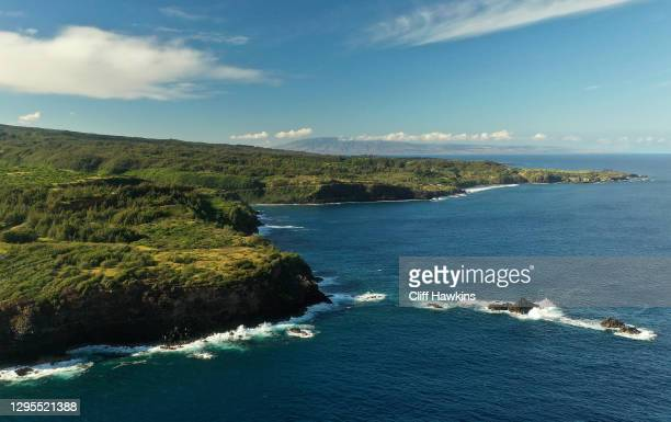 An aerial view of the Maui coastline ahead of the third round of the Sentry Tournament Of Champions at the Kapalua Plantation Course on January 09,...