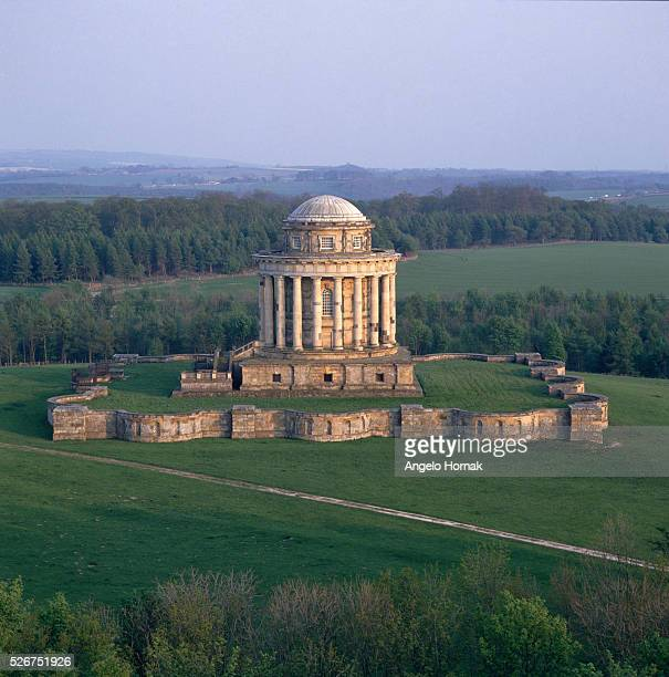 An aerial view of the mausoleum designed by Nicholas Hawksmoor for Charles Howard the Third Earl of Carlisle at Castle Howard | Location near York...