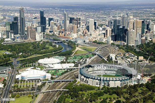 An aerial view of the Melbourne Cricket Ground and Melbourne Park is seen December 23 2005 in Melbourne Australia The Melbourne Cricket Ground will...