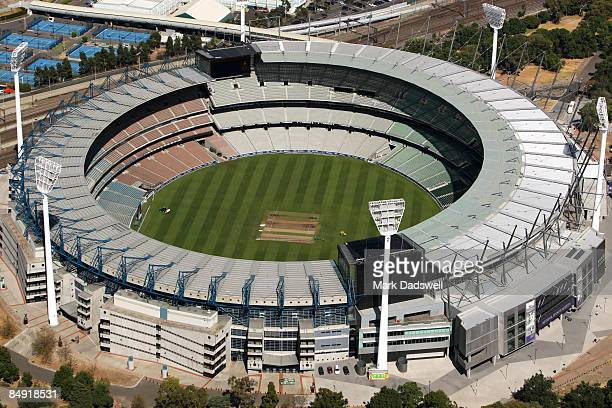 An aerial view of the Melbourne Cricket Ground is seen on February 12 2009 in Melbourne Australia