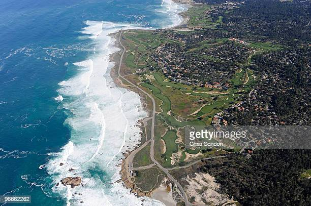 An aerial view of the Monterey Peninsula Country Club course from the MetLife airship Snoopy II during the third round of the ATT Pebble Beach...