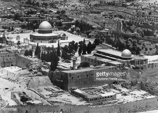 An Aerial View Of The Mosques In The Center Of Jerusalem Left The Mosque Of Omar And Right The Mosque Of AlAqsa Affecting The Wailing Wall Damaged By...