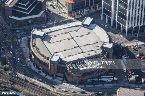 CARDIFF WALES FEBRAURY 2018 An aerial view of the Motorpoint Arena formerly known as the Cardiff International Arena located on Mary Ann Street South...