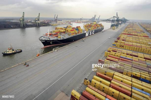 An aerial view of the MSC Beatrice container ship, one of the world's largest ones with 14,000 TEU , as it enters the port of Antwerp via the Scheldt...