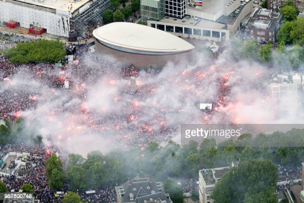 An aerial view of the Museumplein in Amsterdam is shown on May 15 during Ajax Amsterdam's championship celebrations Fourtime European champions Ajax...