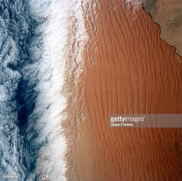 An aerial view of the Namib Desert in the NamibNaukluft National Park Namibia as seen from the space shuttle Atlantis during the STS44 mission...