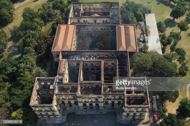 An aerial view of the National Museum of Brazil is seen after a devastating fire on September 3 2018 in Rio de Janeiro Brazil A cause to the...