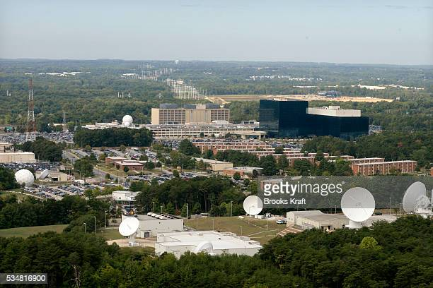 An aerial view of The National Security Agency and Central Security Service building in Fort Meade Maryland
