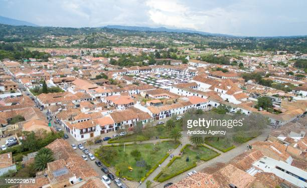 An aerial view of the National Tree Festival area in the town of Villa de Leyva in Boyaca Colombia on October 14 2018 In the town of Leyva National...