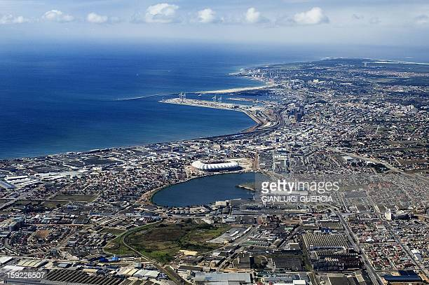 An aerial view of the Nelson Mandela bay multipurpose stadium is seen on April 12, 2009 in Port Elizabeth, South Africa. Port Elizabeth will be one...