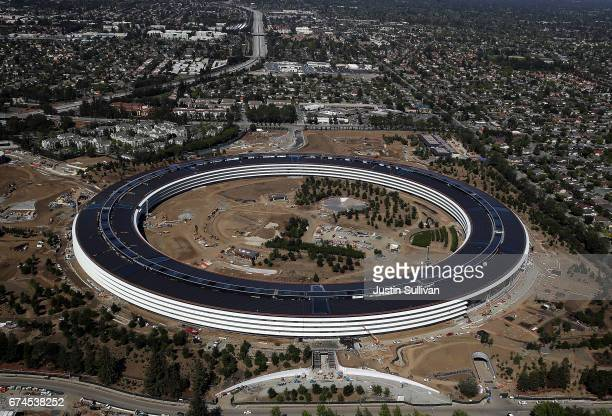 An aerial view of the new Apple headquarters on April 28 2017 in Cupertino California Apple's new 175acre 'spaceship' campus dubbed 'Apple Park' is...