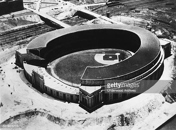 An aerial view of the new Cleveland Municipal Stadium which will be opened to the public for the first time on July 3 for the Max SchmelingYoung...