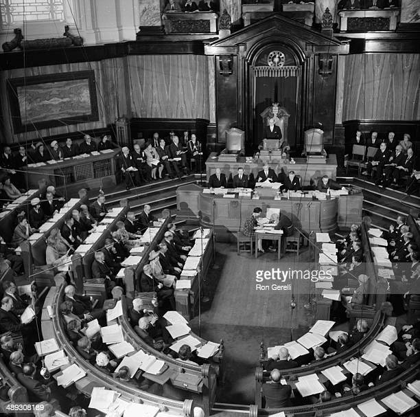 An aerial view of the new Greater London Council at its first meeting at County Hall London April 27th 1964