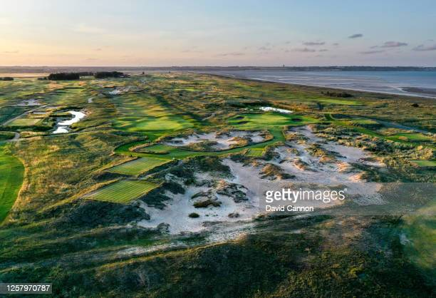 An aerial view of the new short par 3, 5th hole 'Smugglers' Landing' on the Shore nine holes at Prince's Golf Club on July 20, 2020 in Sandwich,...