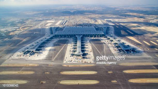 An aerial view of the newly constructed Istanbul New Airport is seen as construction works are still ongoing to be ready for opening ceremony of the...