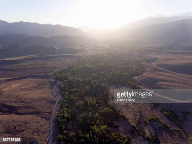 an aerial view of the north of iran at sunrise - david ewing stock pictures, royalty-free photos & images