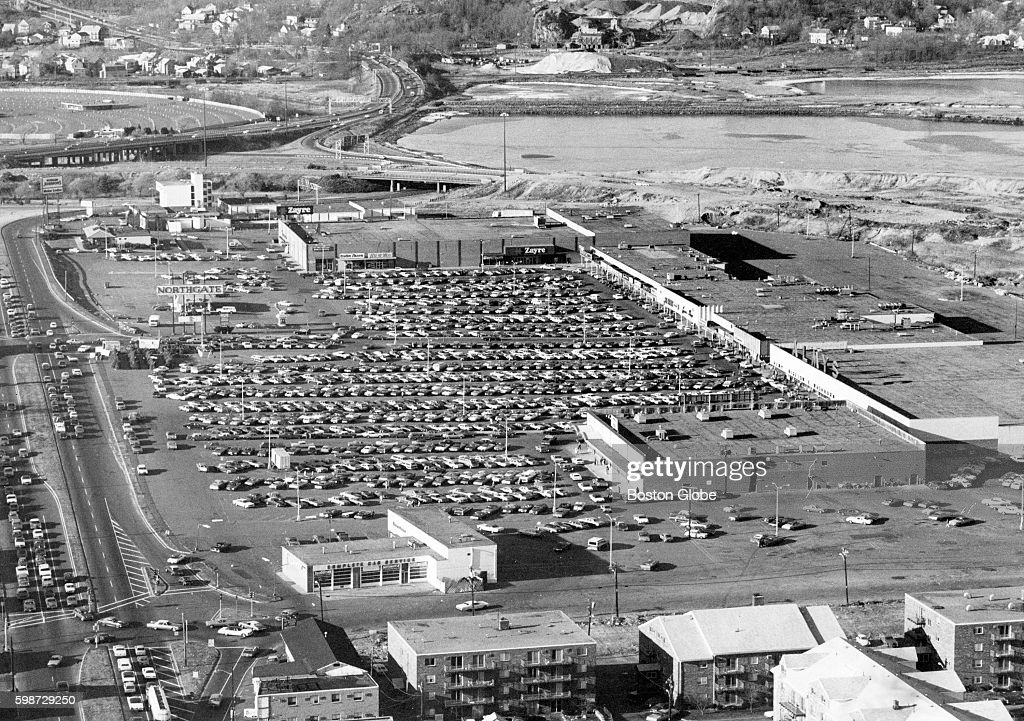 An aerial view of The Northgate Shopping Center in Revere